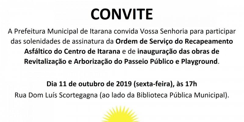 Convite Inauguração e Assinatura Ordem de Serviço