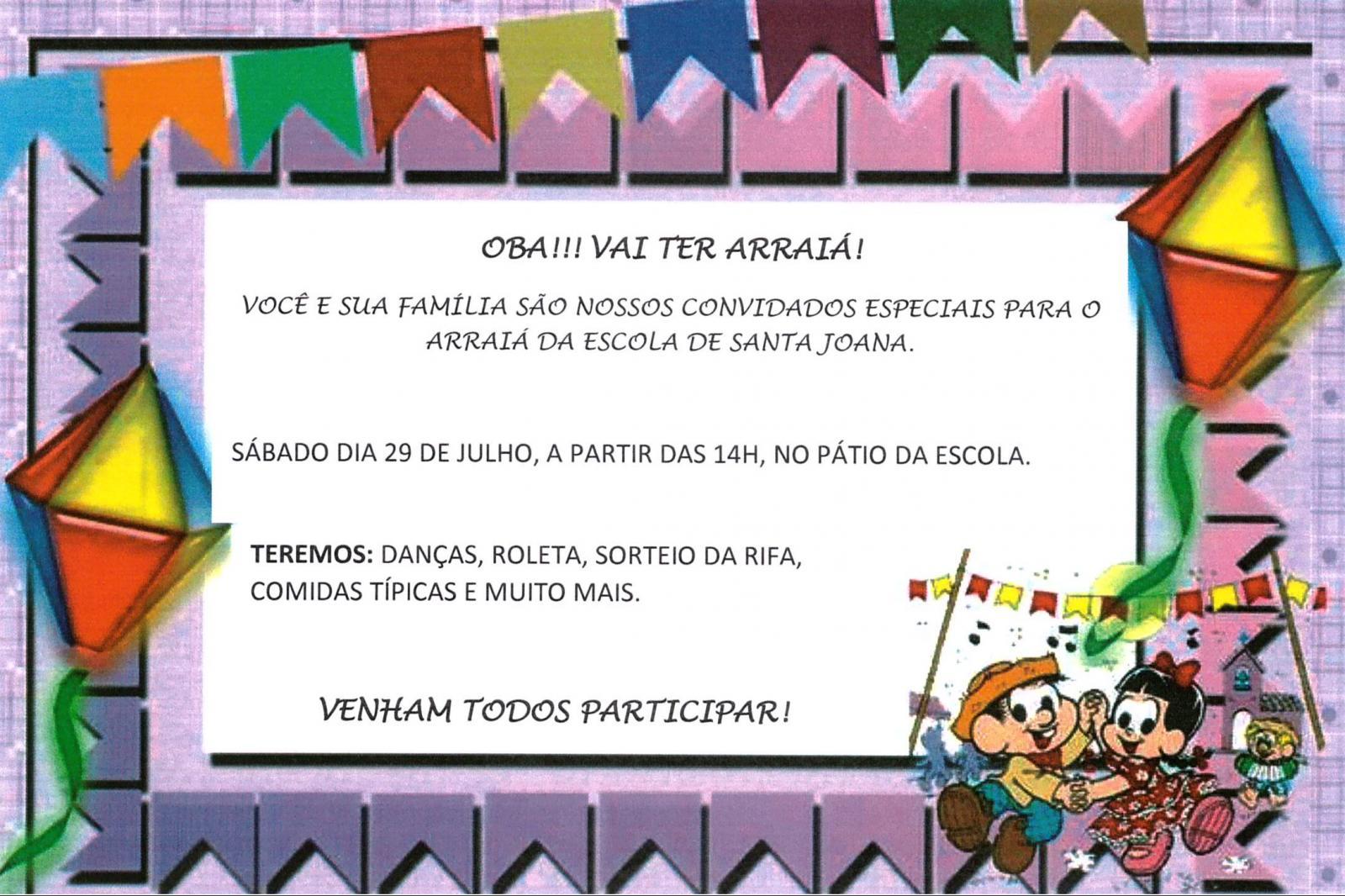 Convite: Arraiá da Escola de Santa Joana