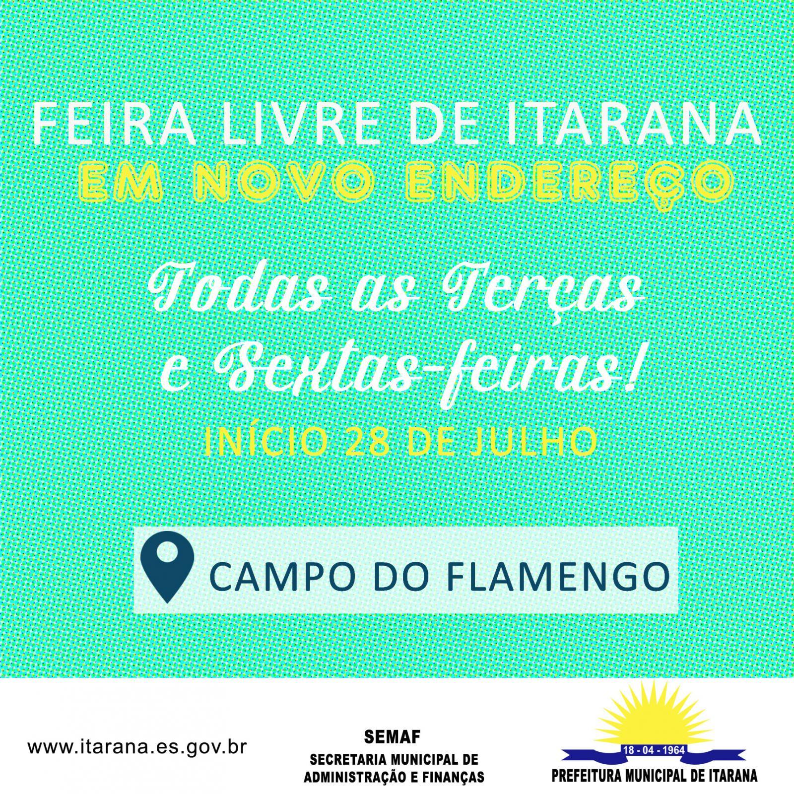Feira Livre de Itarana será transferida para o Campo do Flamengo