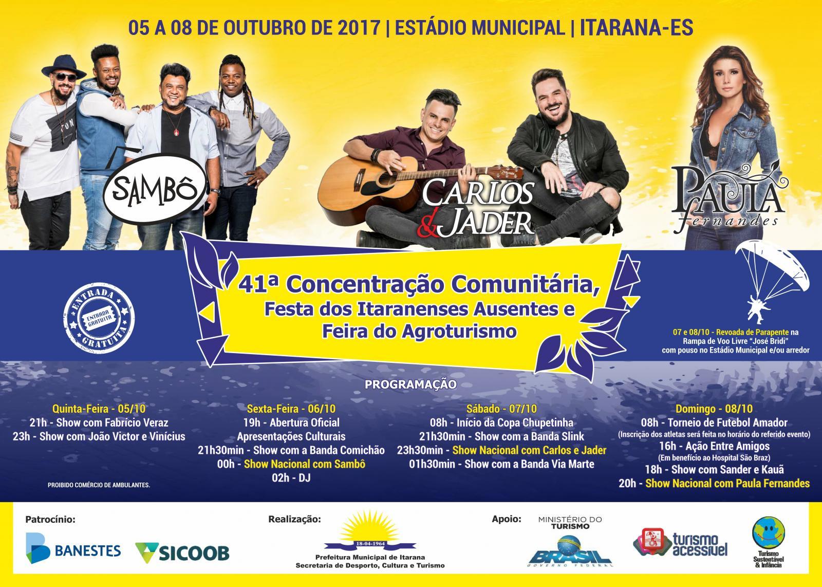 Programação da 41ª Concentração Comunitária, Festa dos Itaranenses Ausentes e Feira do Agroturismo