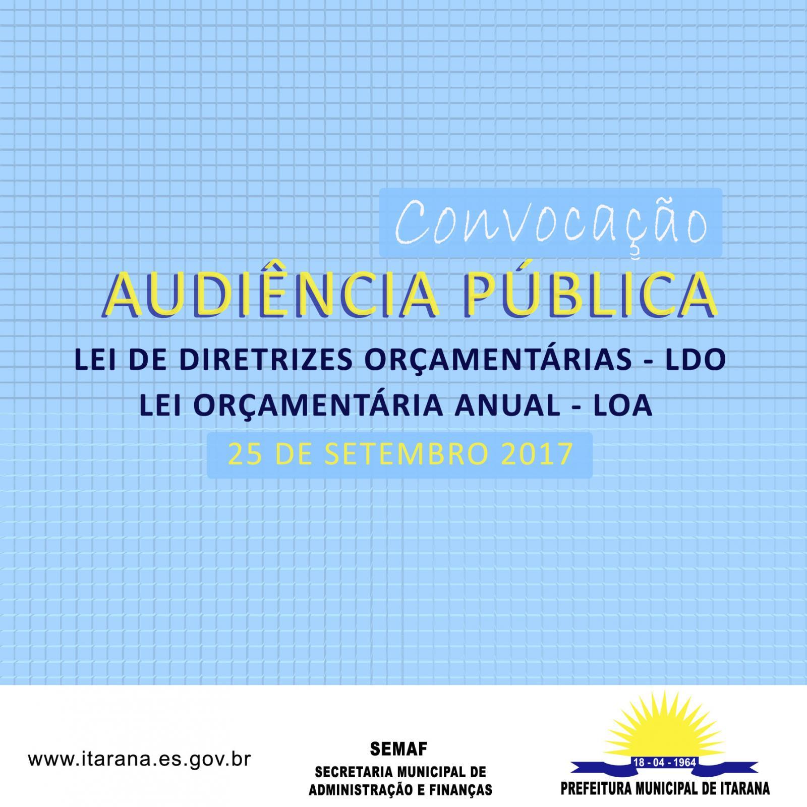 Convocação Audiência Pública LDO e LOA