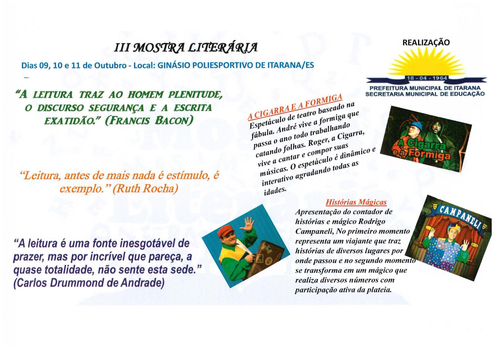 III Mostra Literária começa na segunda-feira (09)