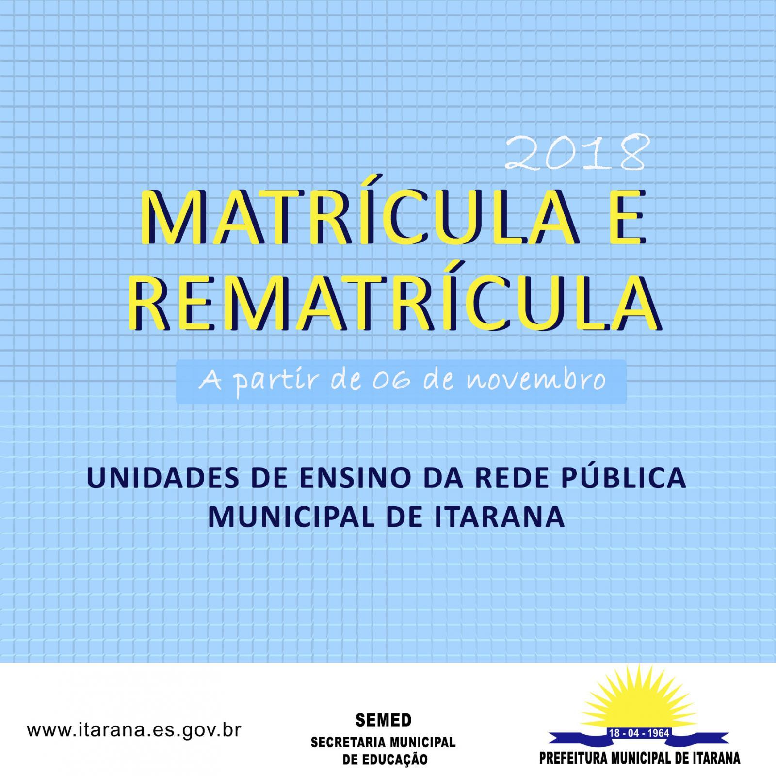 Matrículas e rematrículas da rede municipal de ensino iniciam em novembro