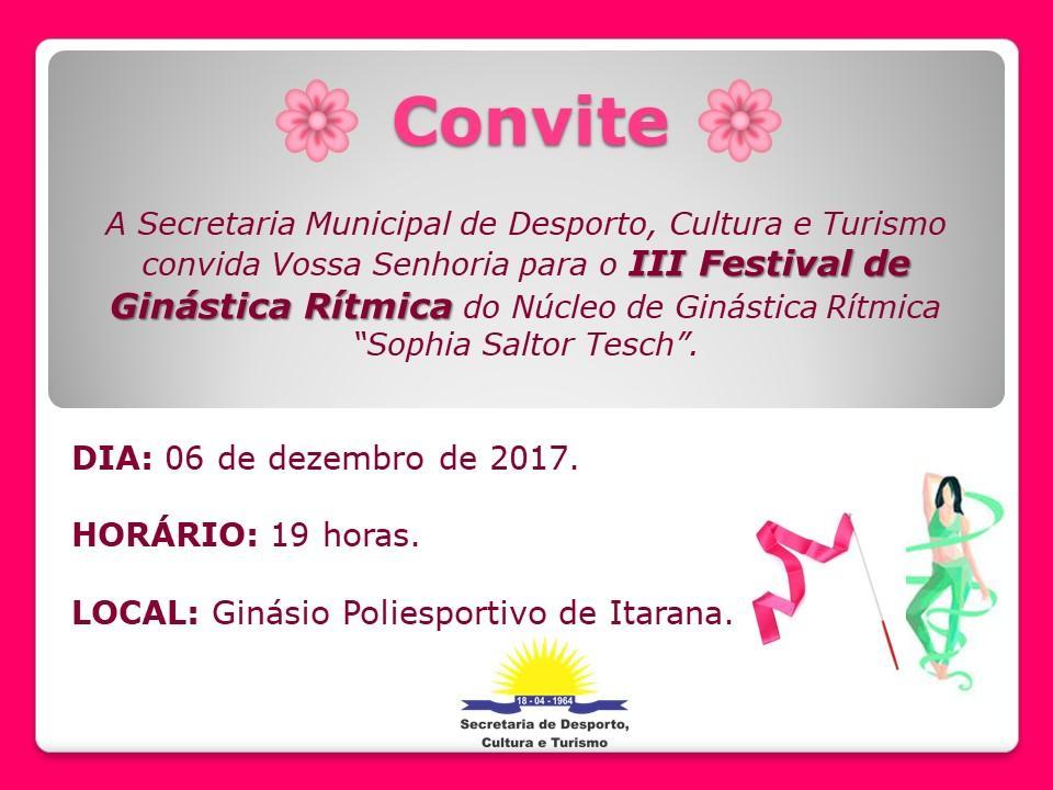 Convite: III Festival de Ginástica rítmica será no dia 06