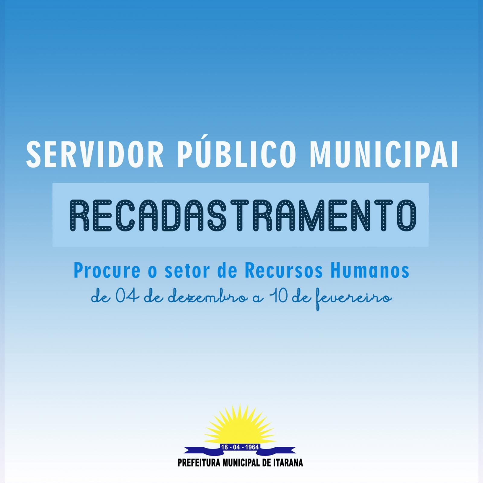 Servidores municipais de Itarana devem fazer recadastramento