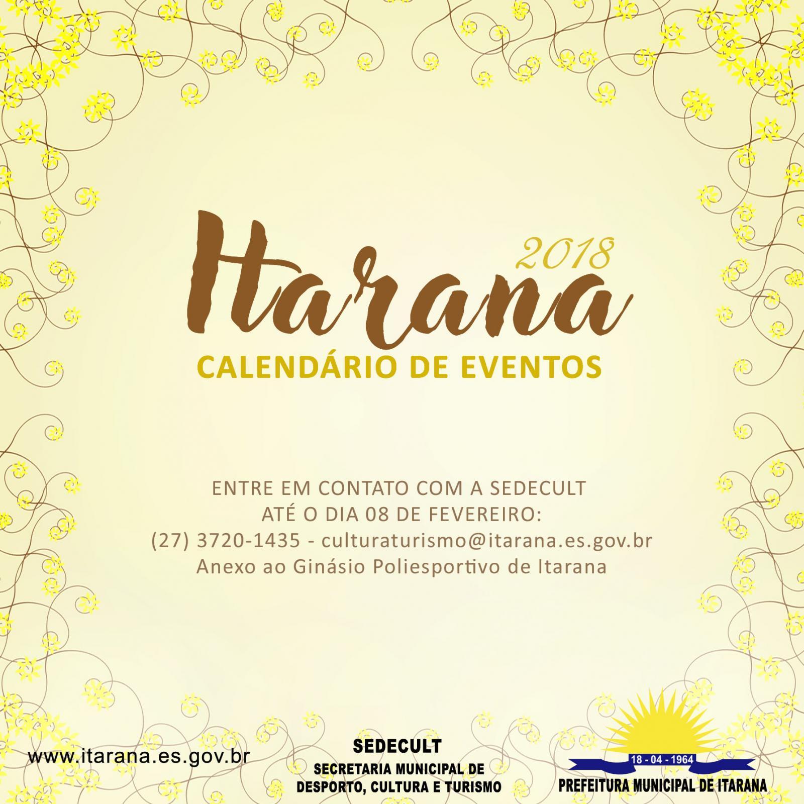Calendário de Eventos: datas dos principais eventos do município devem ser informadas até 8 de fevereiro