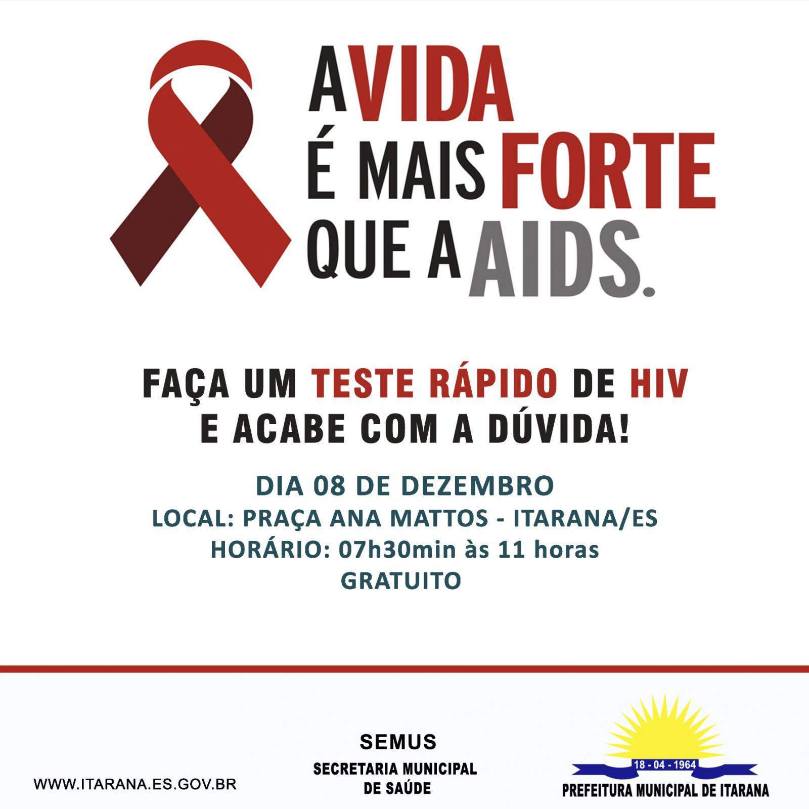 Saúde vai oferecer testes rápidos de HIV, nesta sexta, dia 08