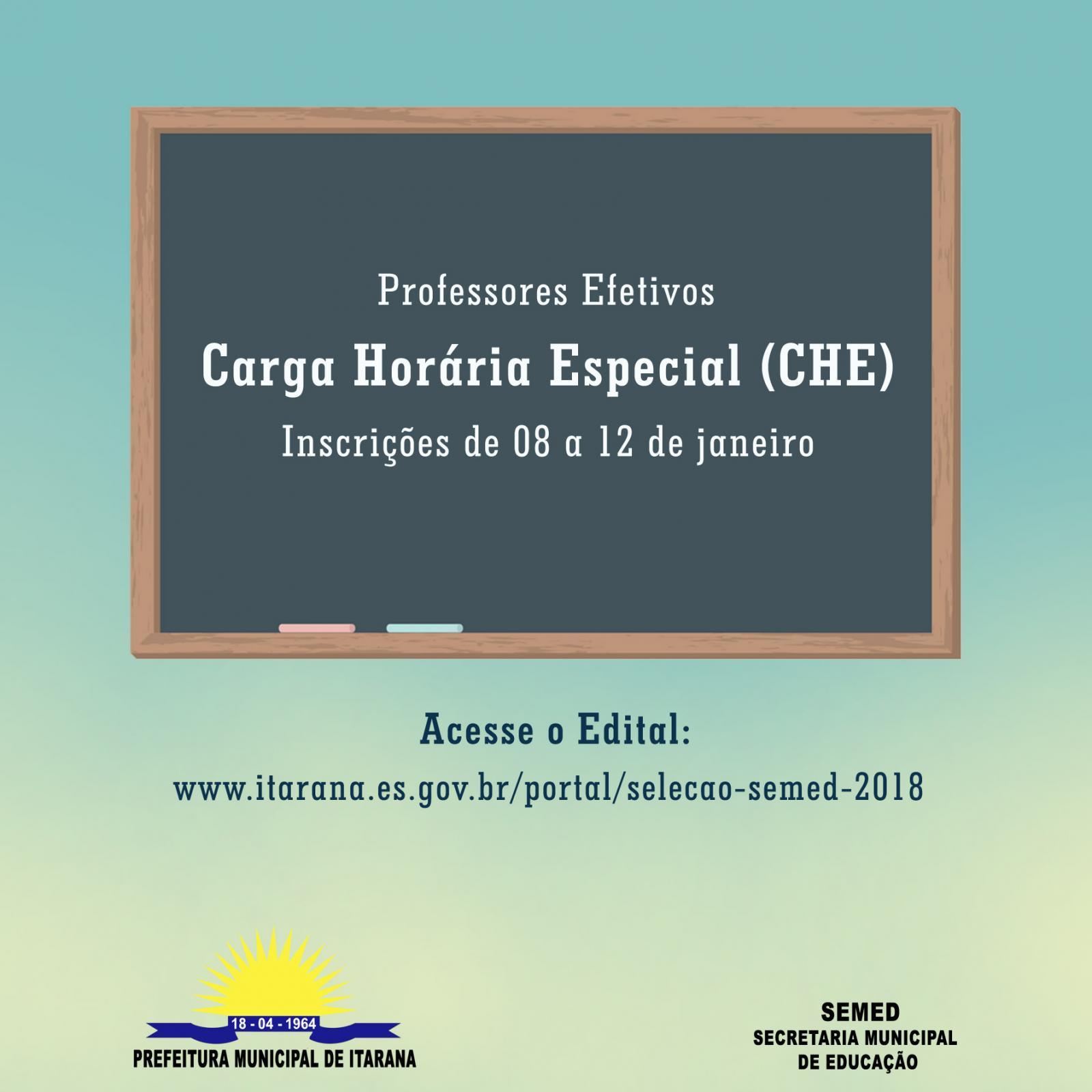 Educação lança edital para concessão de Carga Horária Especial (CHE) para professores efetivos
