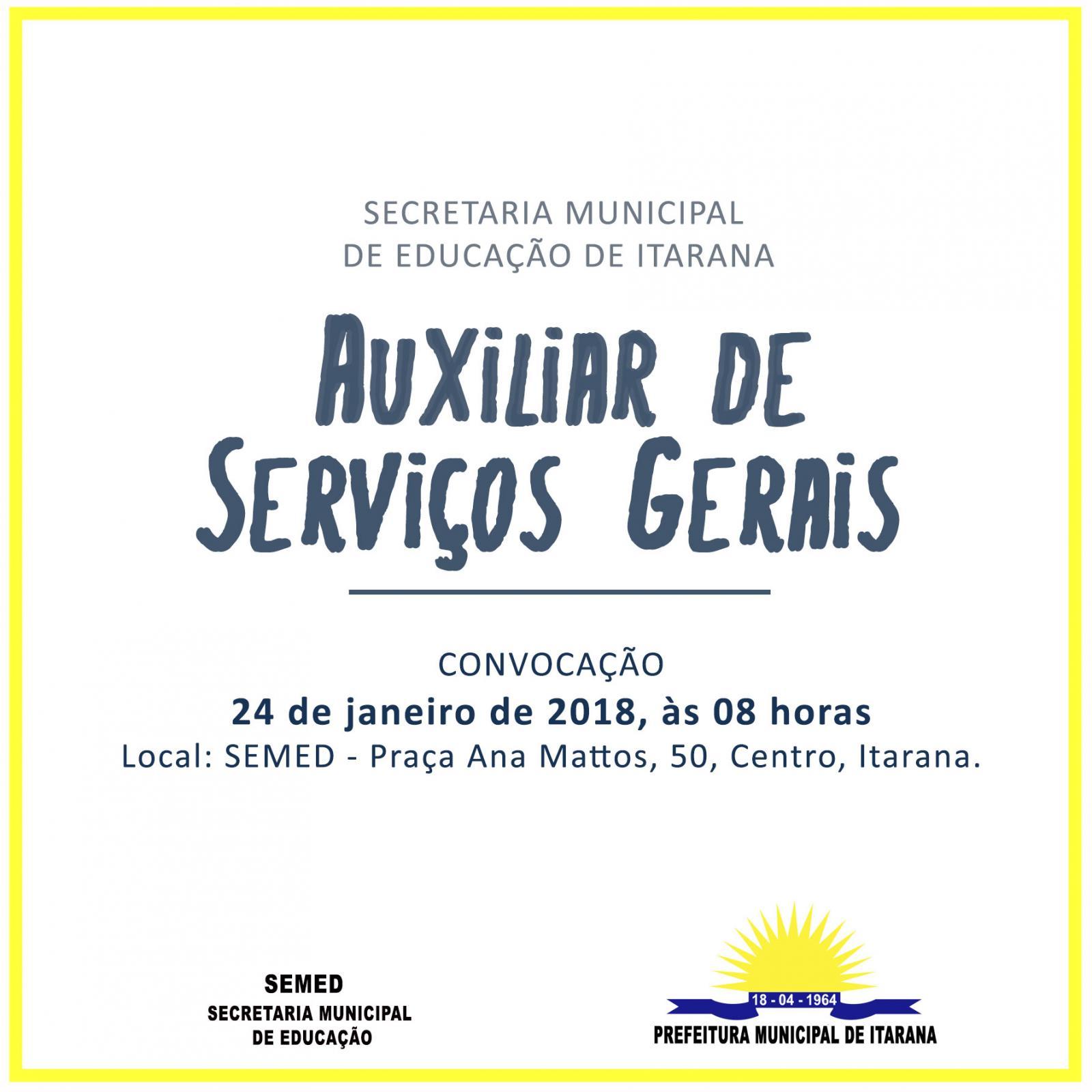 Convocação Auxiliares de Serviços Gerais da Educação