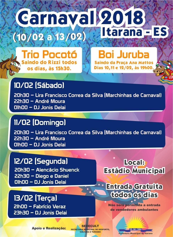 Carnaval de Itarana terá blocos de rua e atrações musicais durante a noite