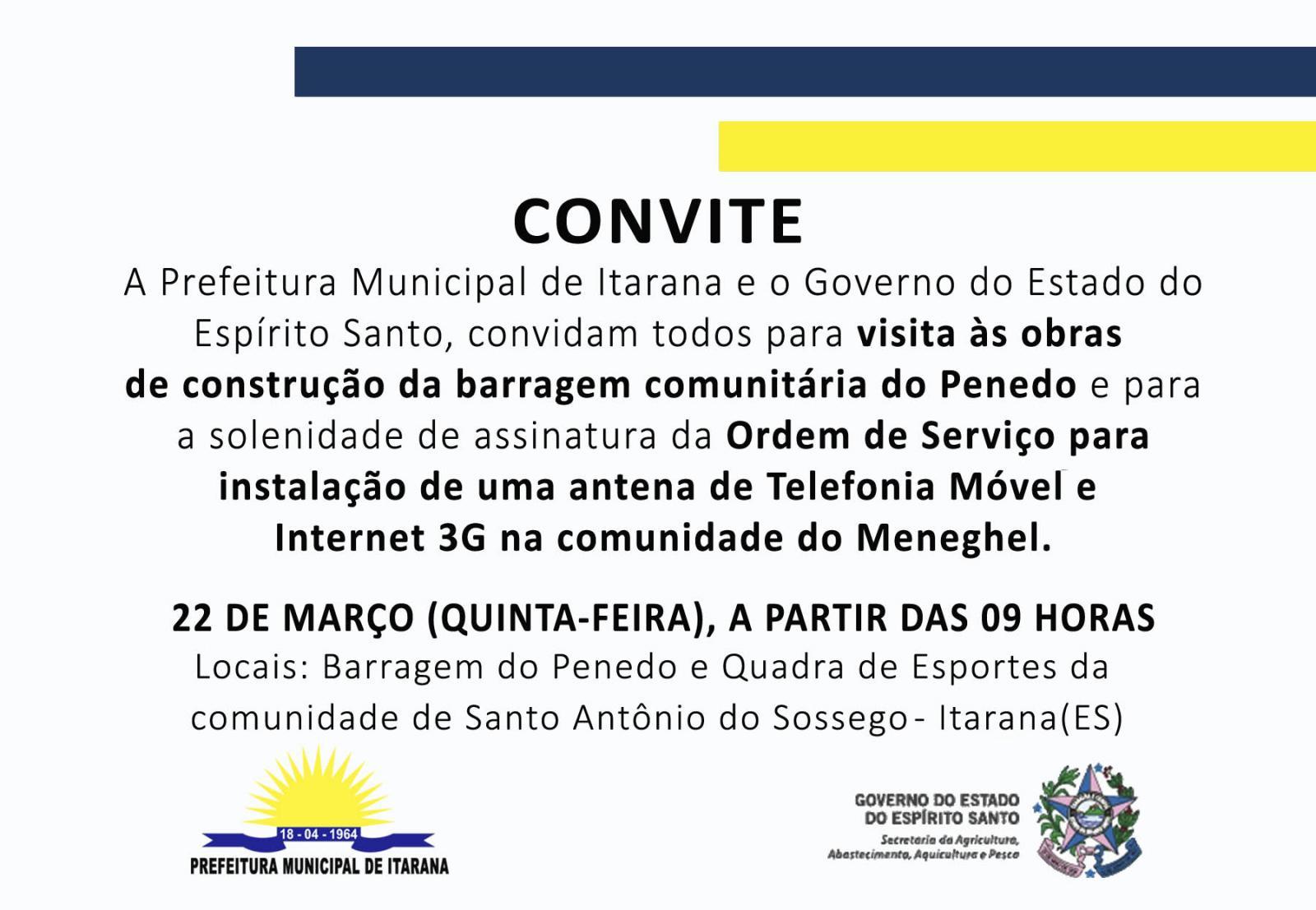 Convite: Ordem de serviço para instalação de antena de telefonia móvel e internet 3G na comunidade do Meneghel