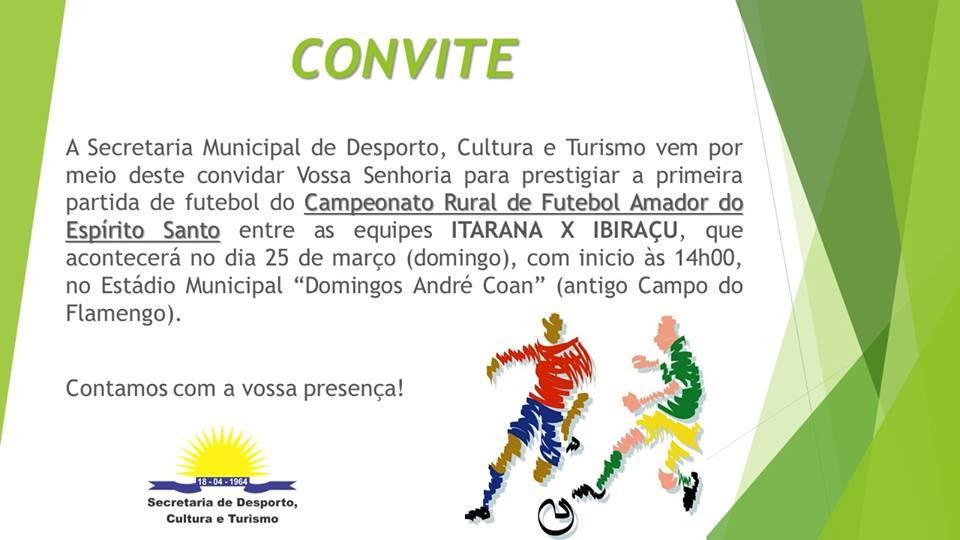 Primeira partida de Itarana no Campeonato de Futebol Rural Amador do ES será no domingo (25)