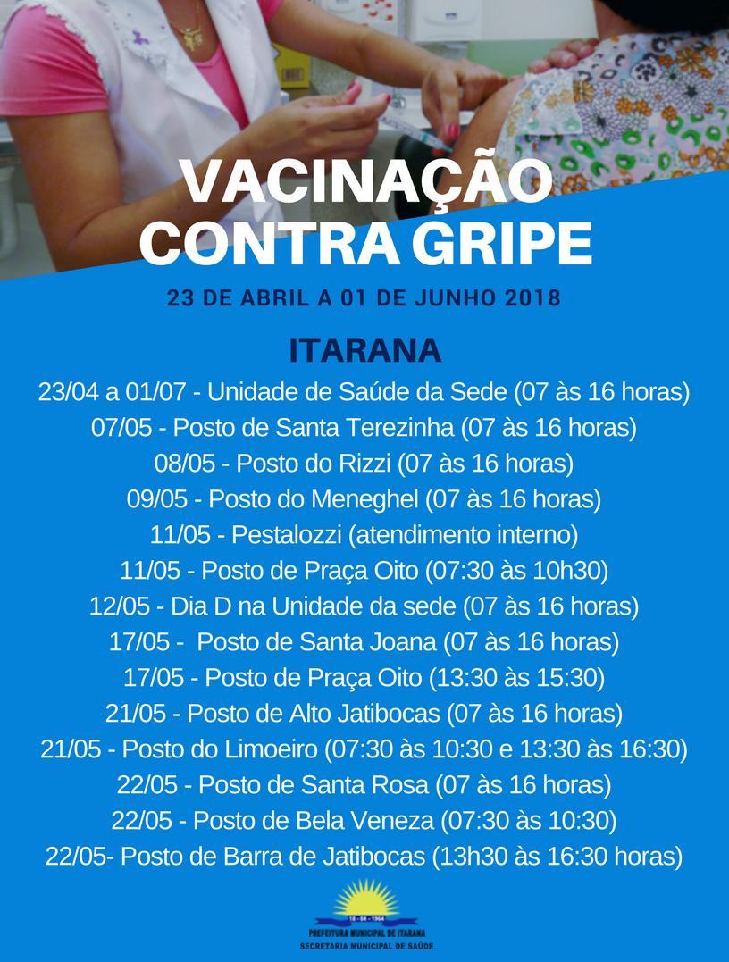 Campanha de vacinação contra gripe vai até dia 01 de junho