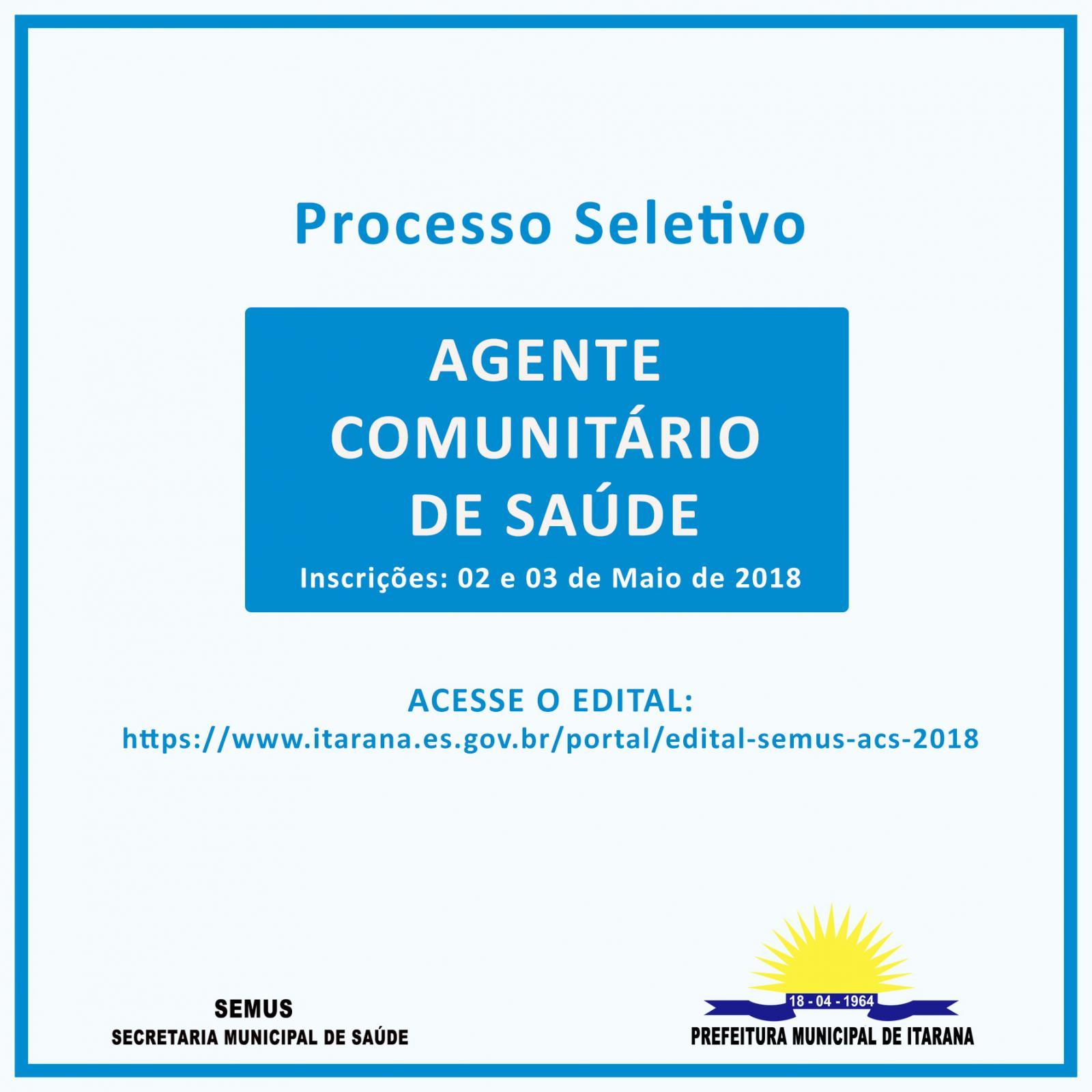 Secretaria de Saúde abre processo seletivo para contratação de Agente Comunitário de Saúde