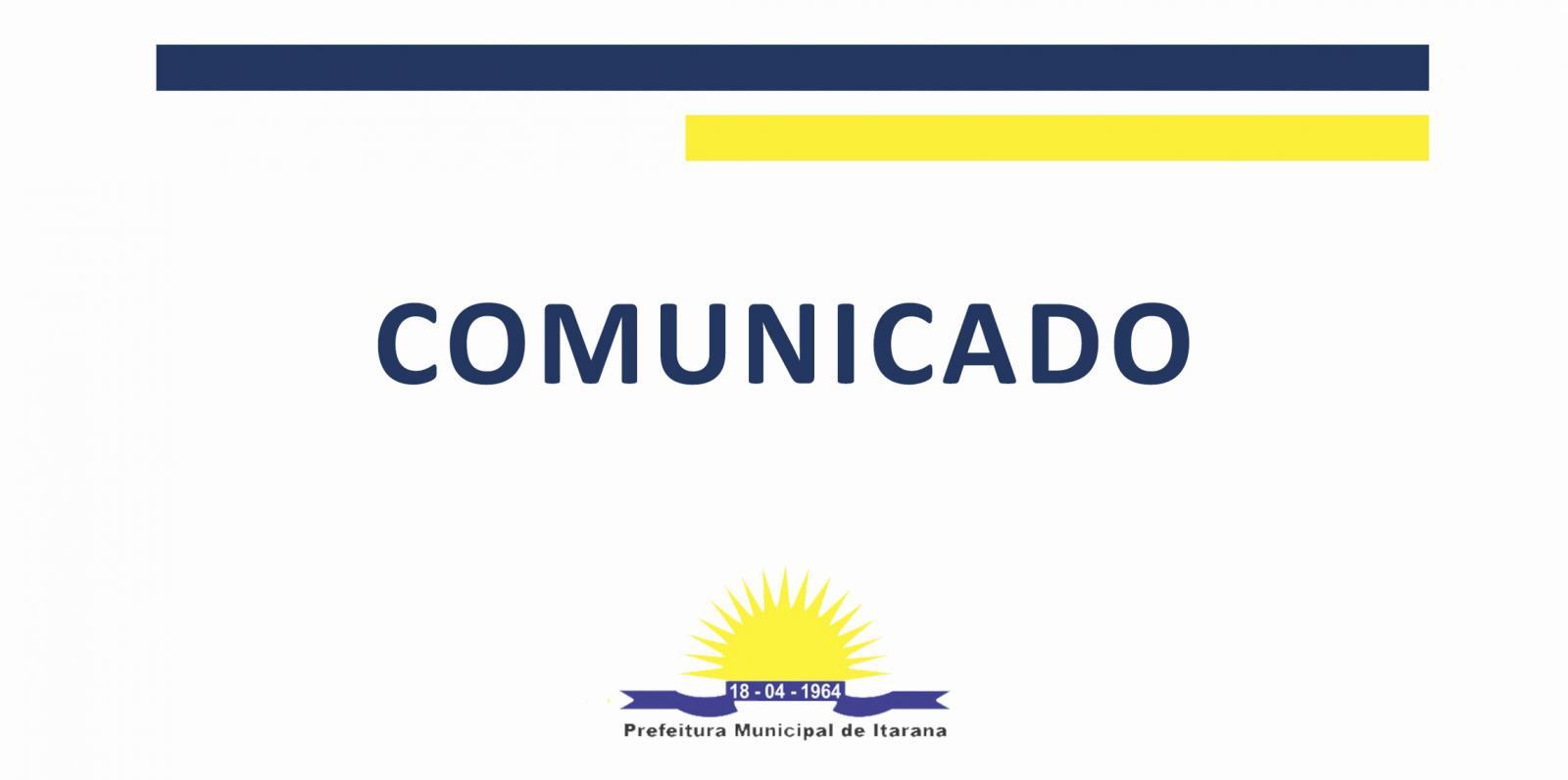 Comunicado - Suspensão de serviços