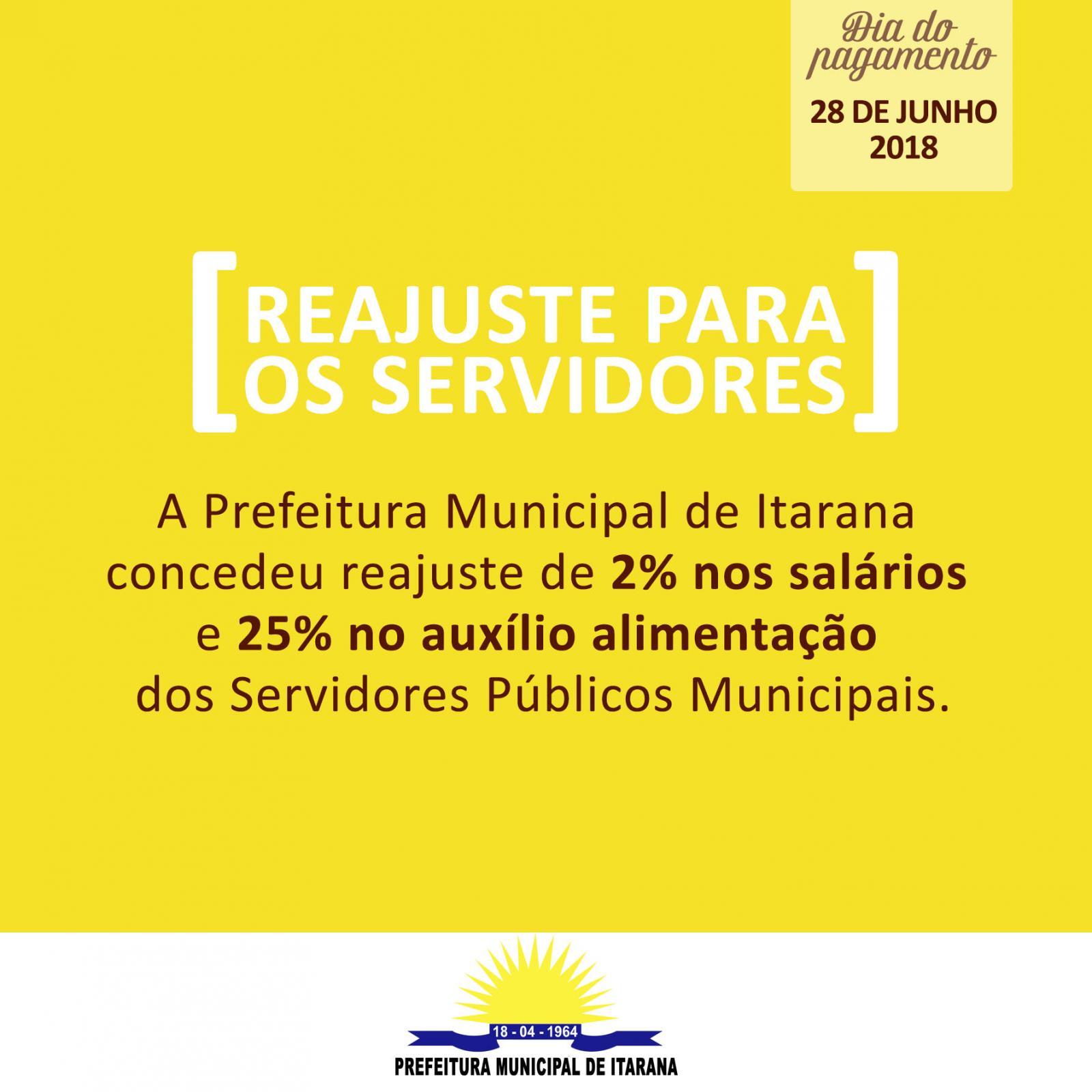 Prefeitura concede reajuste de 2% no salário e 25 % no auxílio alimentação dos servidores municipais