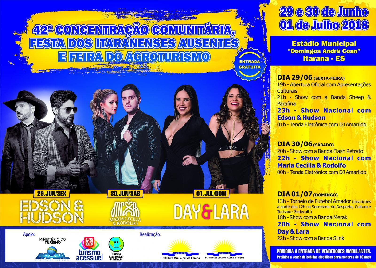 Programação da 42ª Concentração Comunitária, Festa dos Itaranenses Ausentes e Feira do Agroturismo
