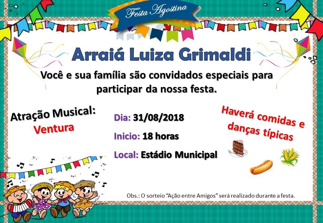 Convite: Arraiá da Escola Luiza Grimaldi