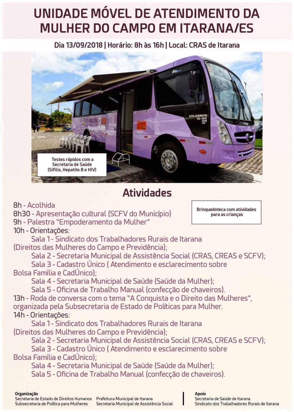 Unidade Móvel de Atendimento da Mulher do Campo estará em Itarana no dia 13 de setembro