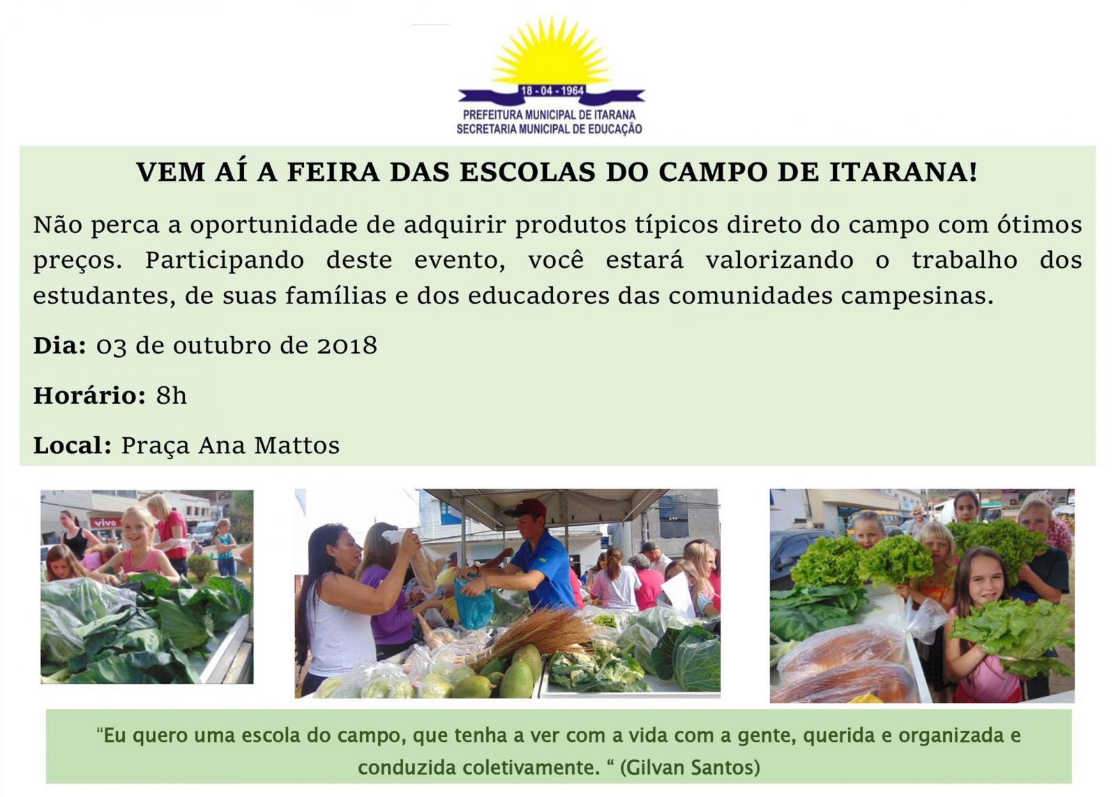 """""""Feira das Escolas do Campo"""" será no dia 03 de outubro, ação incentiva o empreendedorismo dos alunos"""