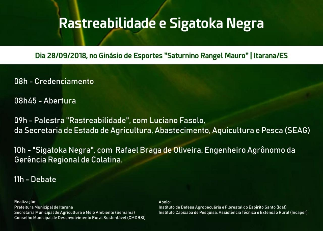 Palestras vão abordar Rastreabilidade e Sigatoka Negra em Itarana, no dia 28.