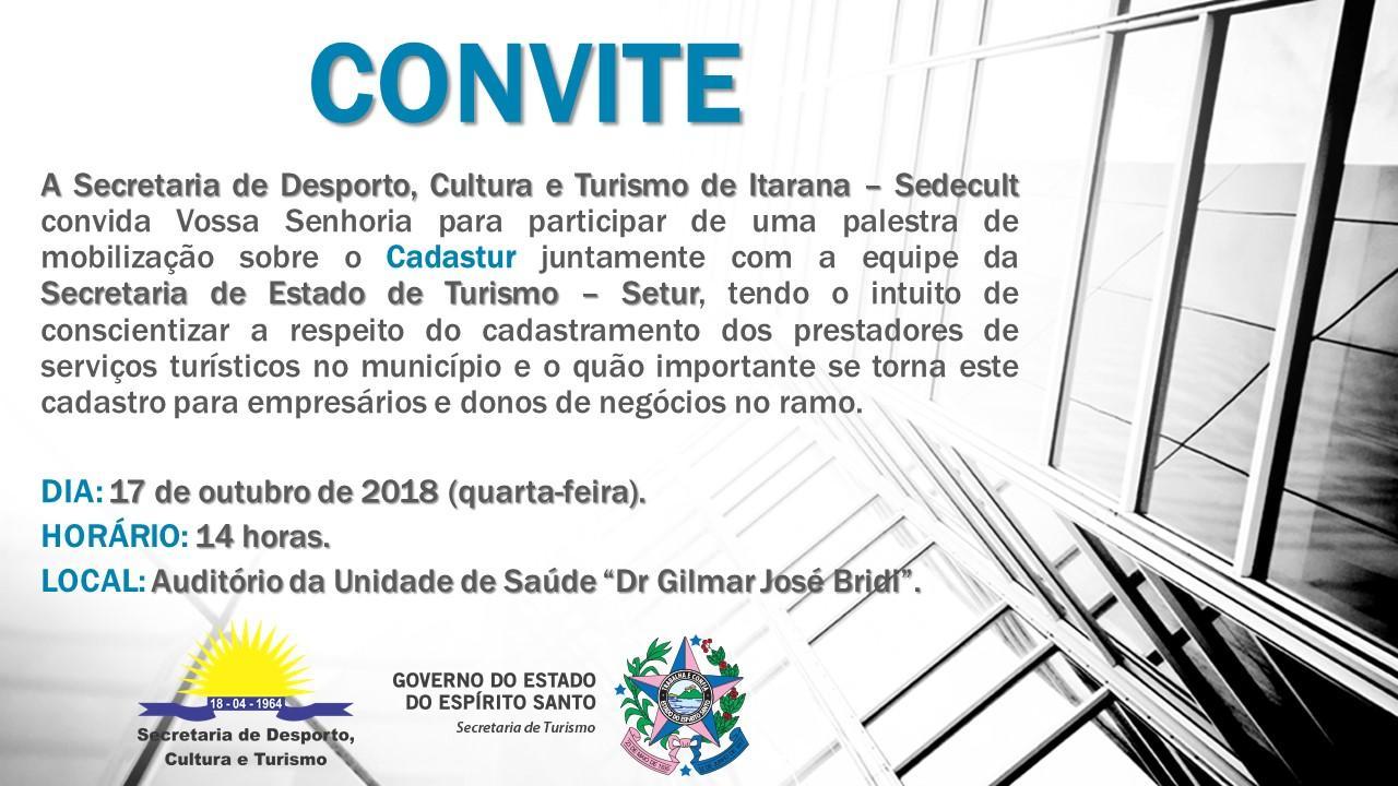 Palestra vai orientar o setor turístico do município sobre o Cadastur