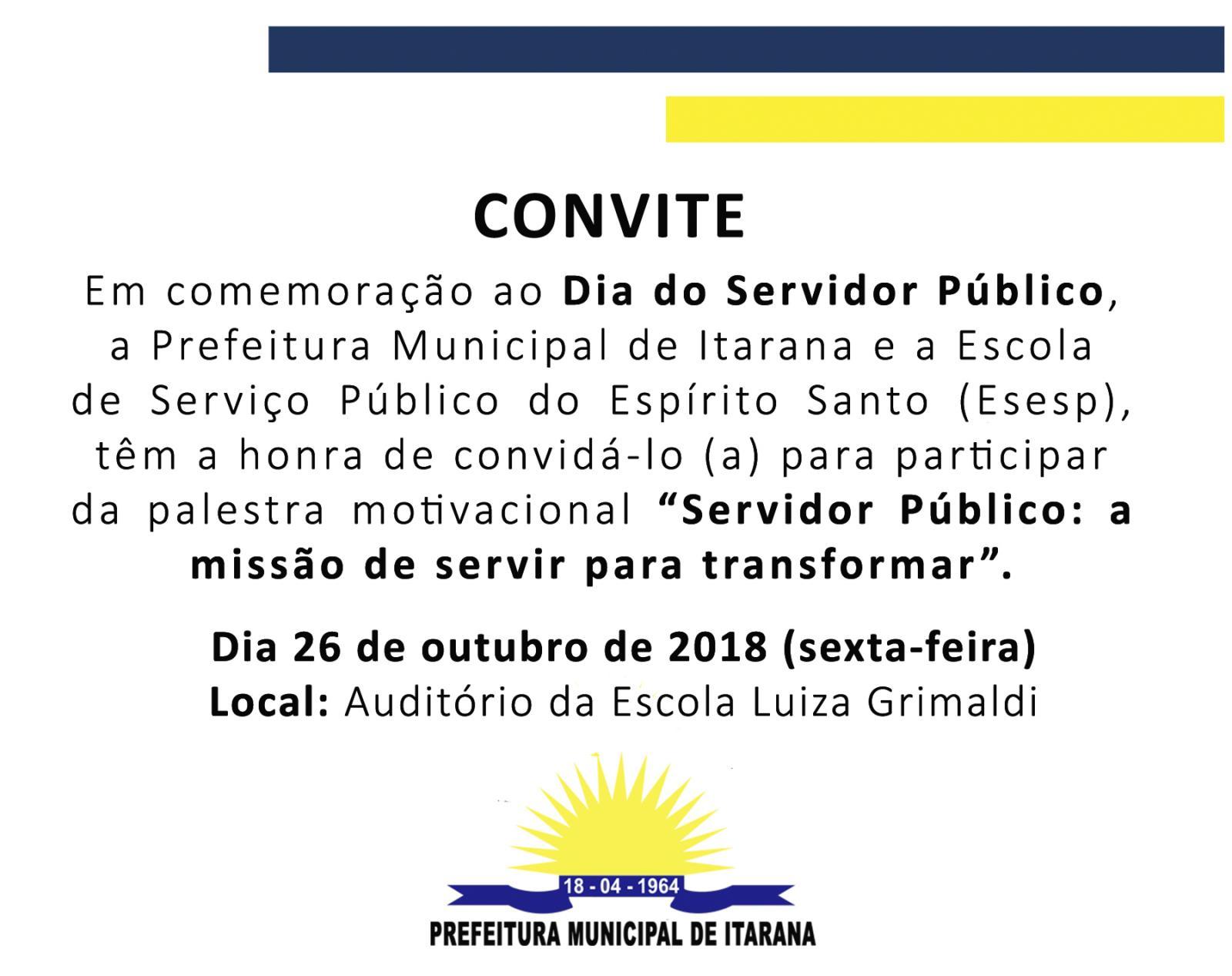 Convite: Palestra motivacional para os Servidores Públicos Municipais