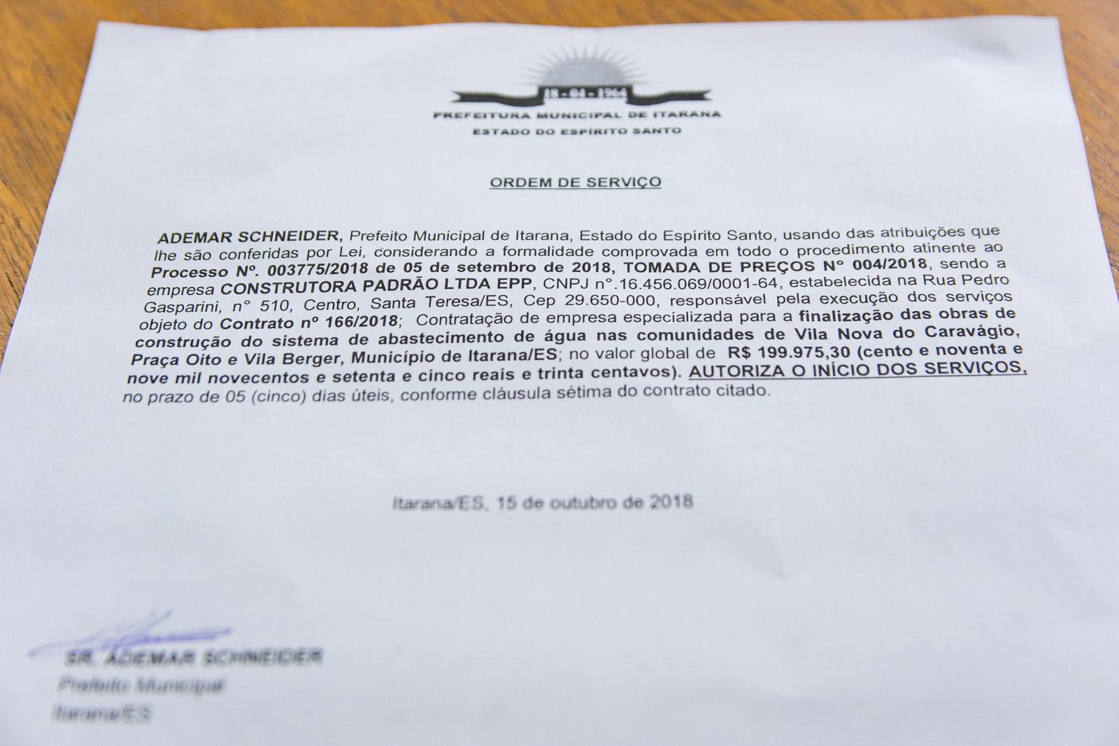 Ordem de serviço para conclusão do sistema de abastecimento de água da Praça Oito e região