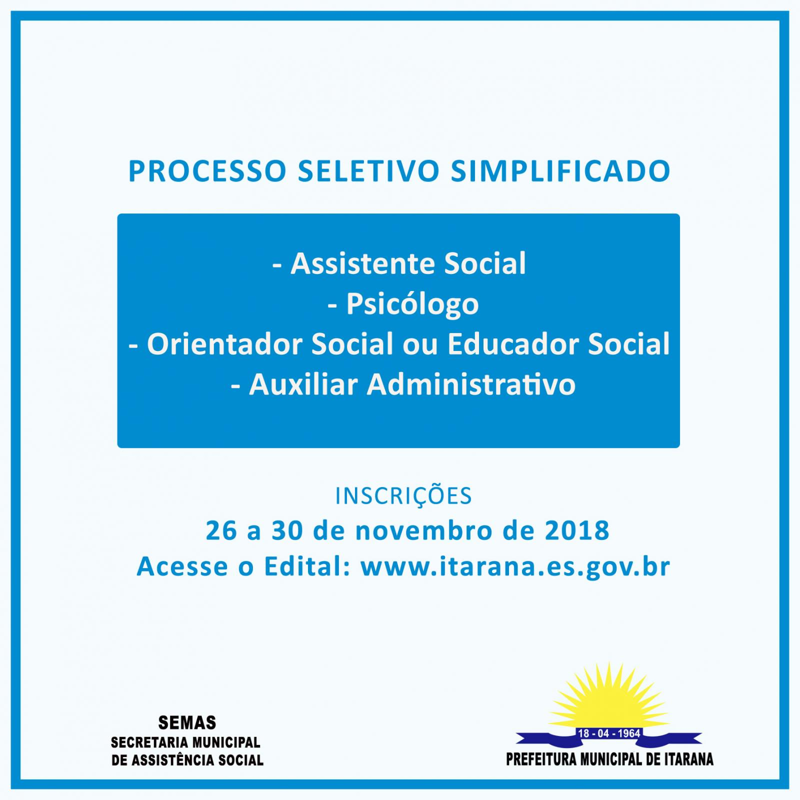 Secretaria de Assistência Social de Itarana abre processo seletivo simplificado
