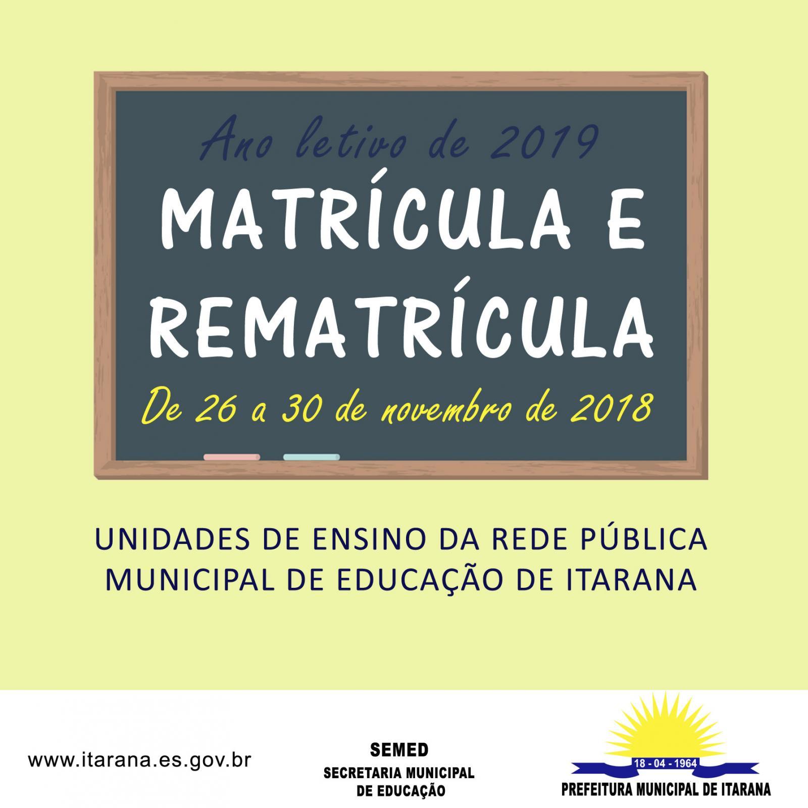 Período para matrícula e rematrícula da Rede Municipal de Educação vai de 26 a 30 de novembro