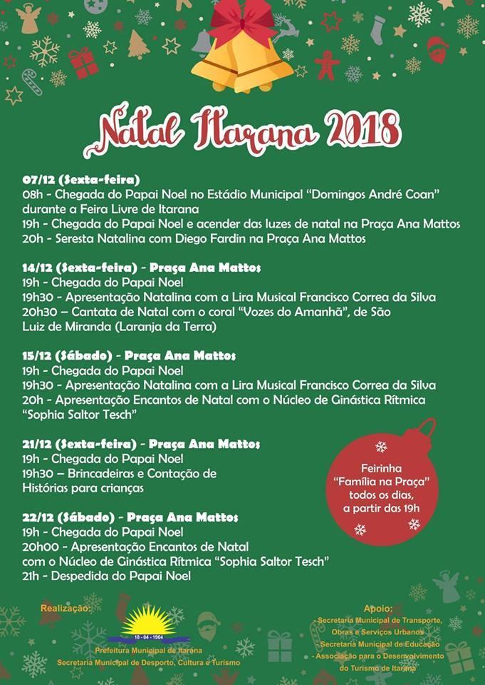 Programação do Natal 2018 vai até dia 22 de dezembro