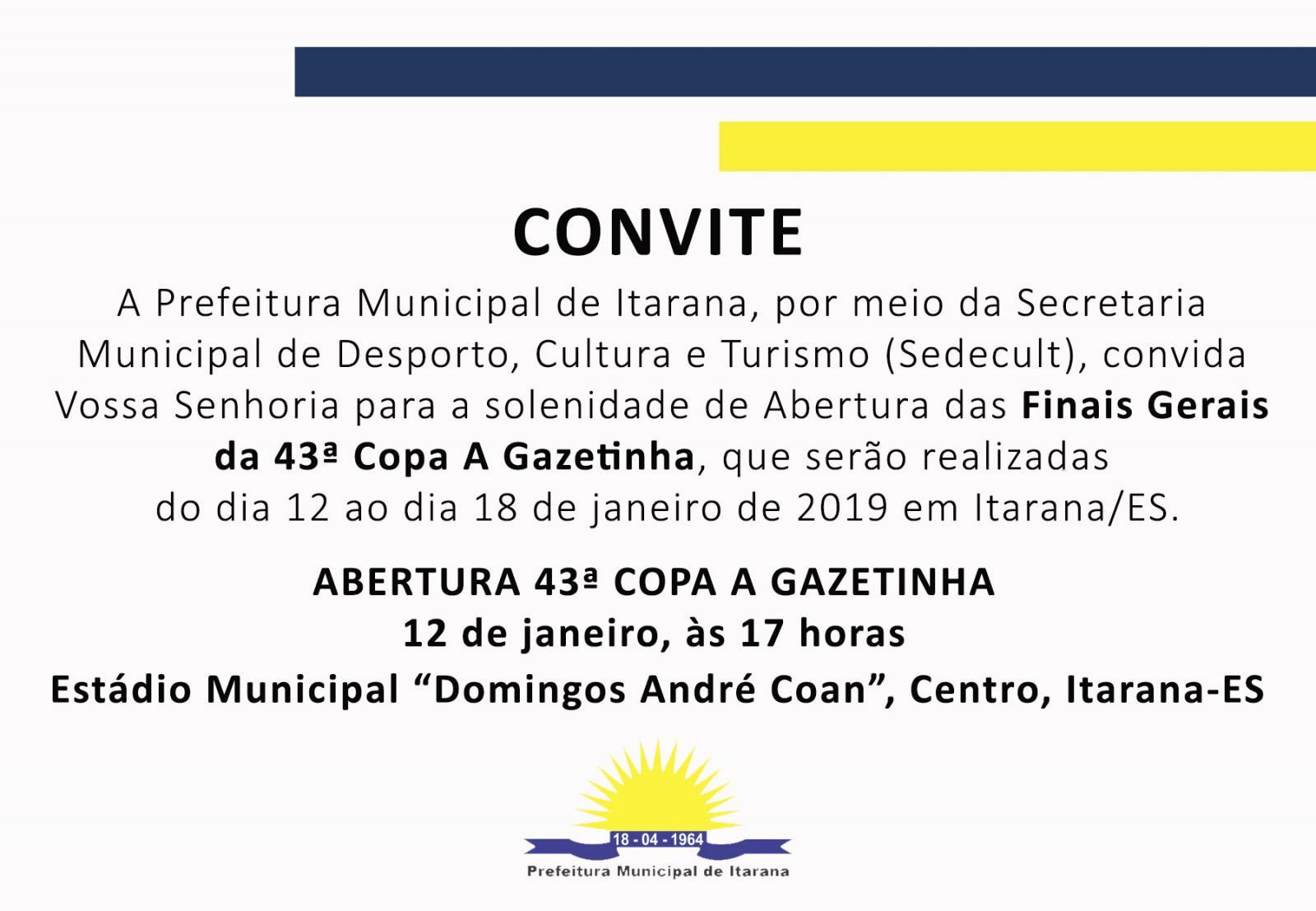 Abertura das Finais Gerais da Copa A Gazetinha será no sábado, dia 12 de janeiro