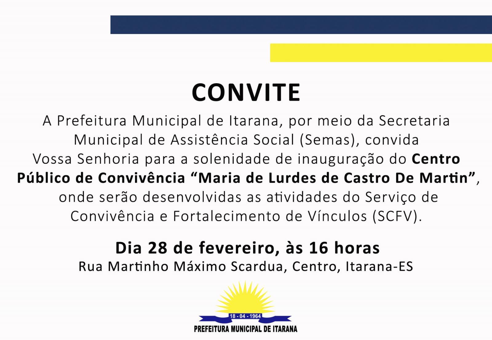 Convite: Centro Público de Convivência será inaugurado no dia 28 de fevereiro