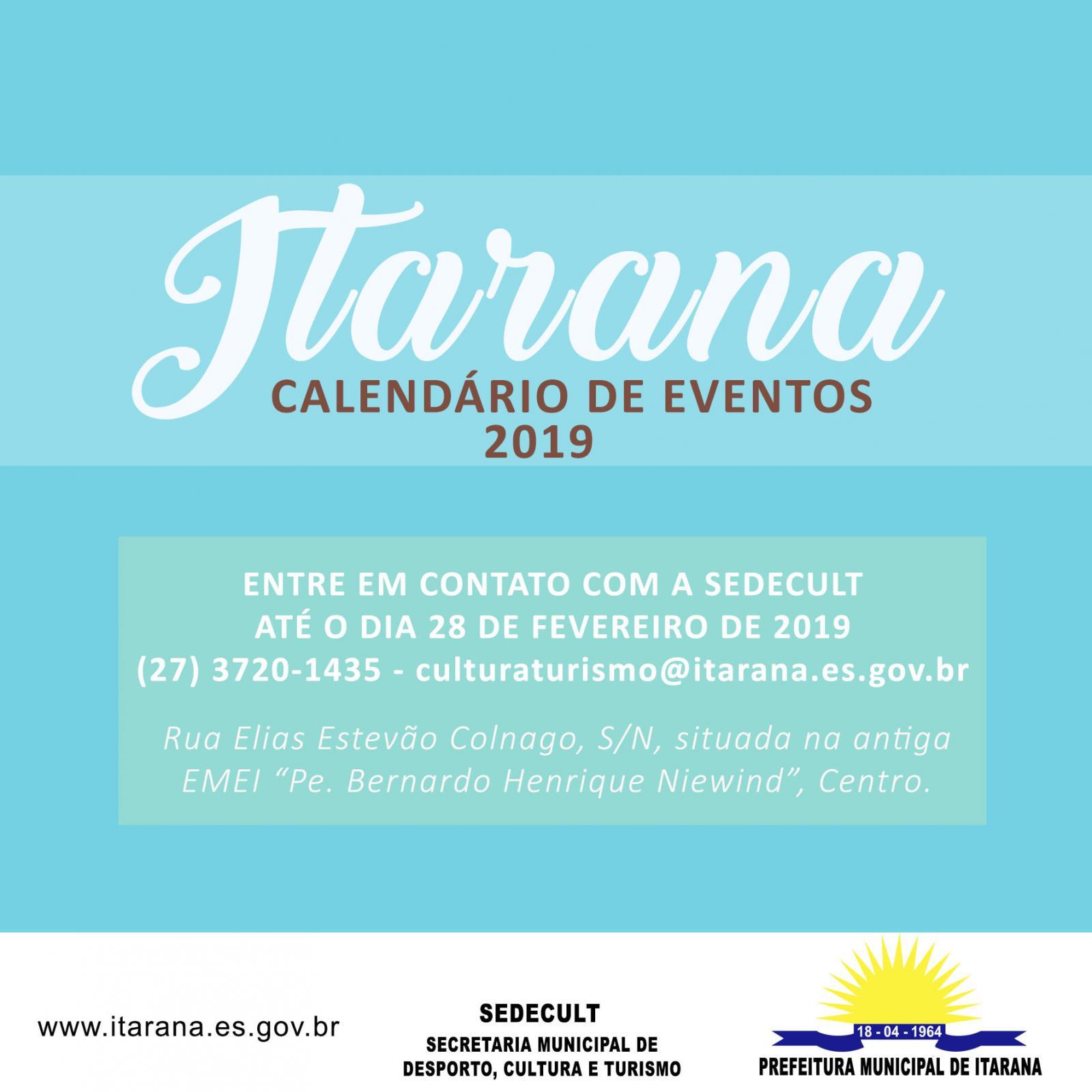 Informações sobre o Calendário de Eventos 2019