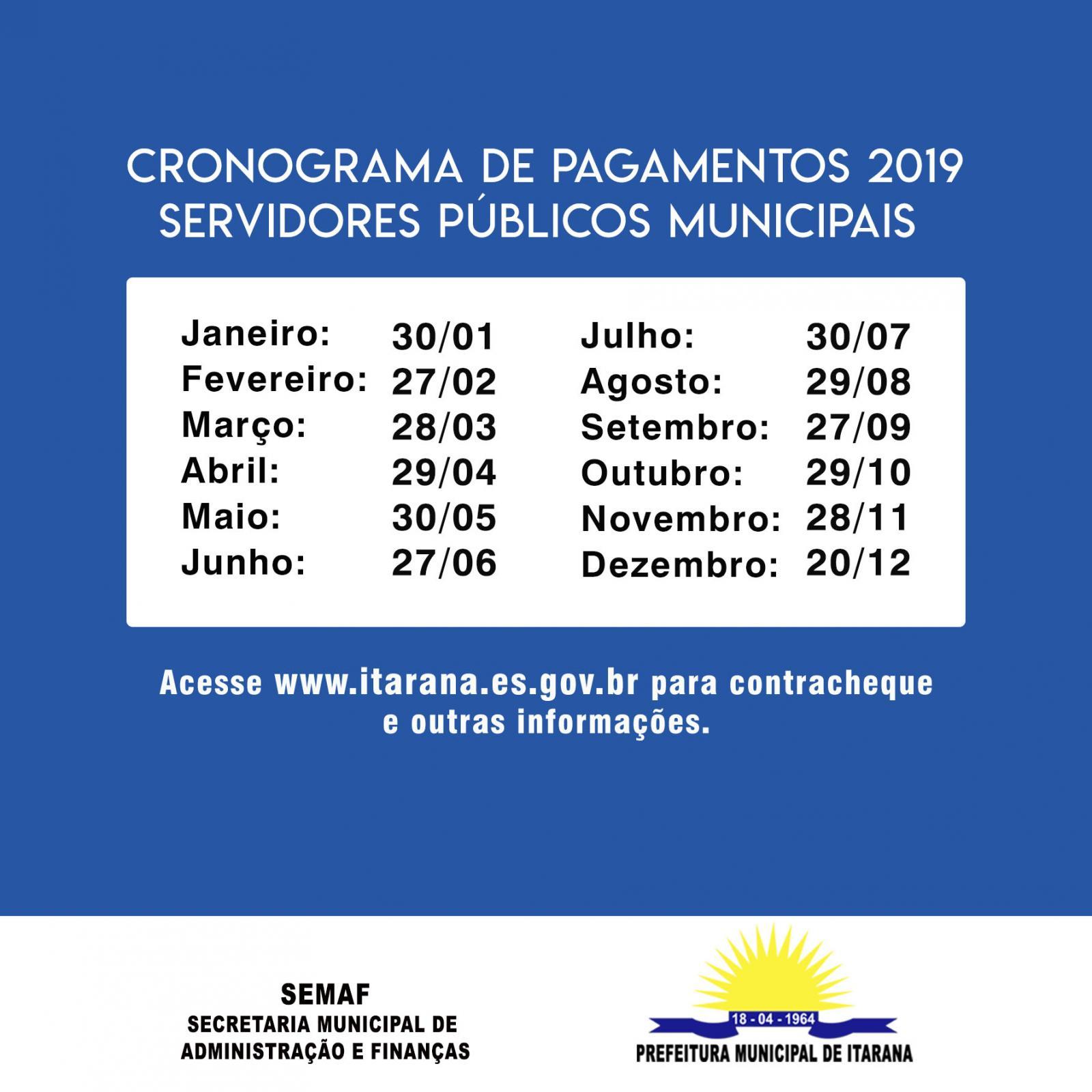Prefeitura de Itarana divulga Cronograma de Pagamentos dos Servidores para 2019