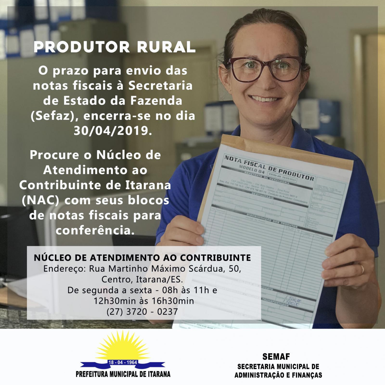 Produtores rurais têm até o dia 30 de abril para apresentar bloco de notas