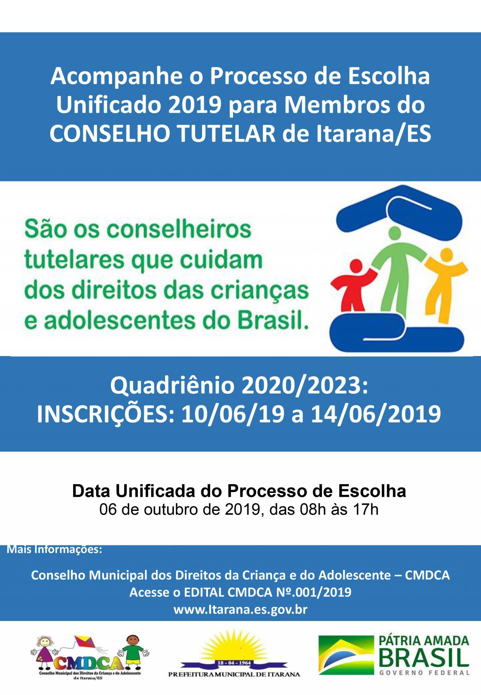 Lançado o edital do processo seletivo de novos membros do Conselho Tutelar de Itarana