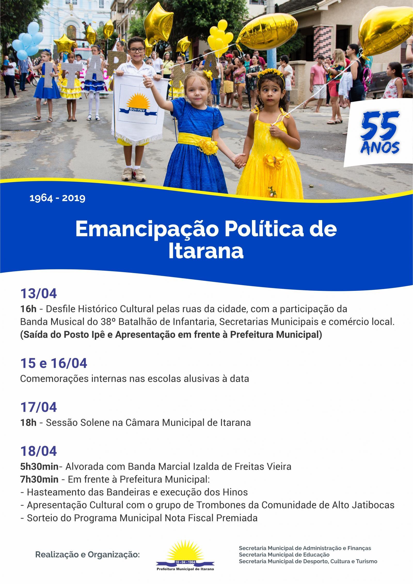 Comemorações de Emancipação Política de Itarana começam no sábado, dia 13, com Desfile Histórico Cultural