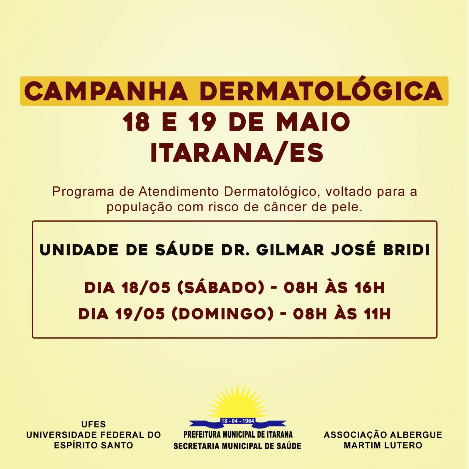 Itarana receberá Campanha Dermatológica nos dias 18 e 19 de maio