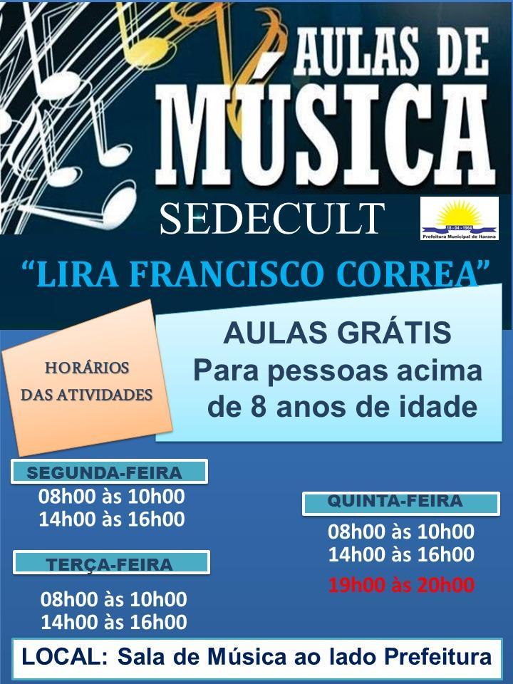Secretaria de Cultura oferece aulas de música, inscrições vão de 03 a 07 de junho