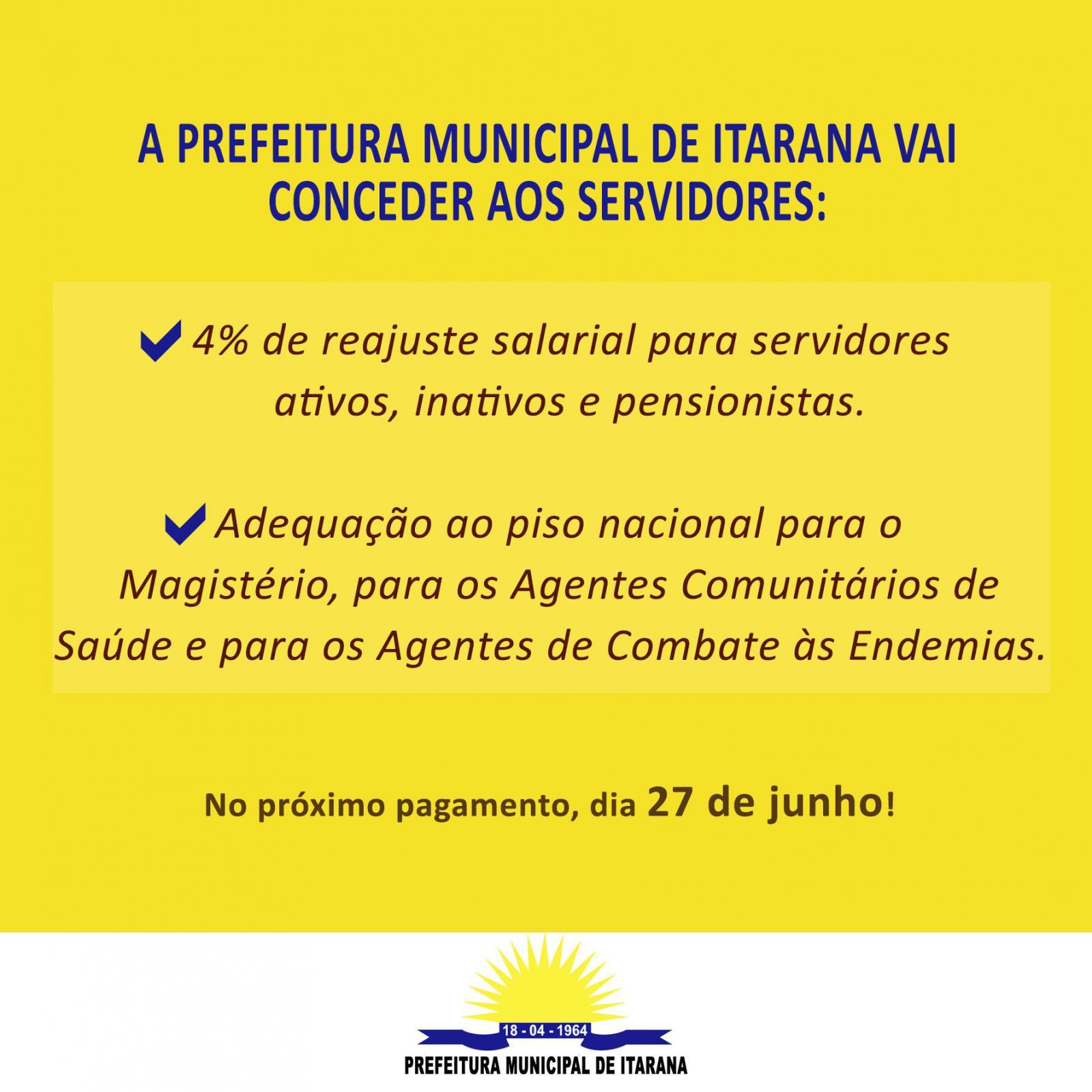 Prefeitura de Itarana vai conceder reajuste salarial aos servidores públicos municipais