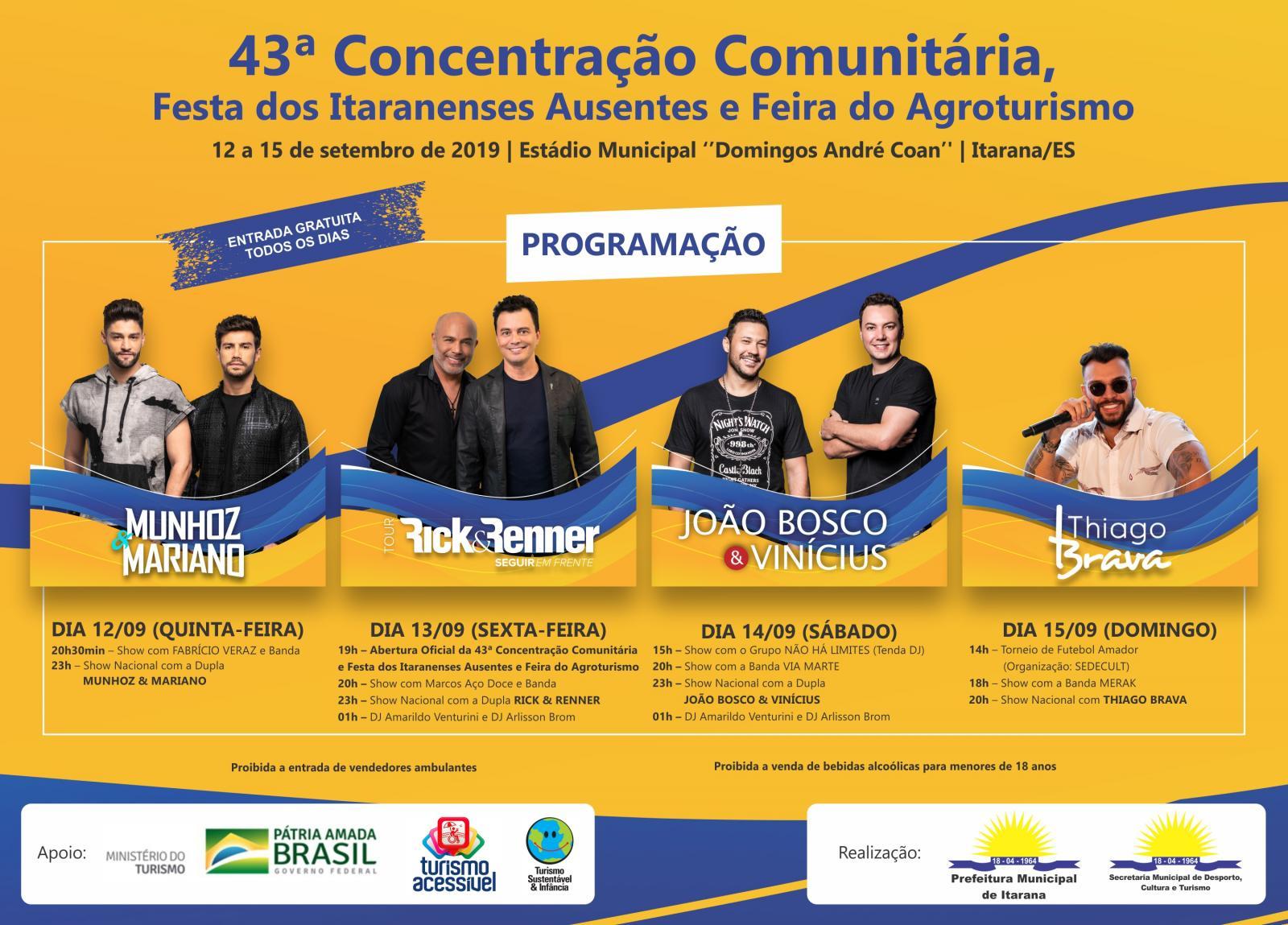 """Programação da """"43ª Concentração Comunitária, Festa dos Itaranenses Ausentes e Feira do Agrotuturismo"""""""