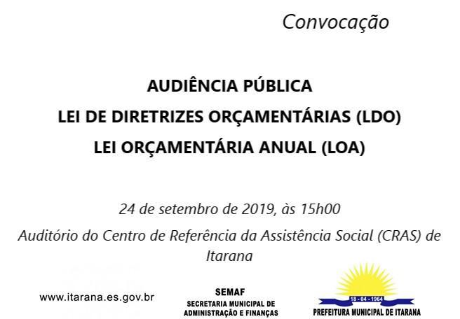 Audiência Pública – Lei de Diretrizes Orçamentárias (LDO) e Lei Orçamentária Anual (LOA) 2020