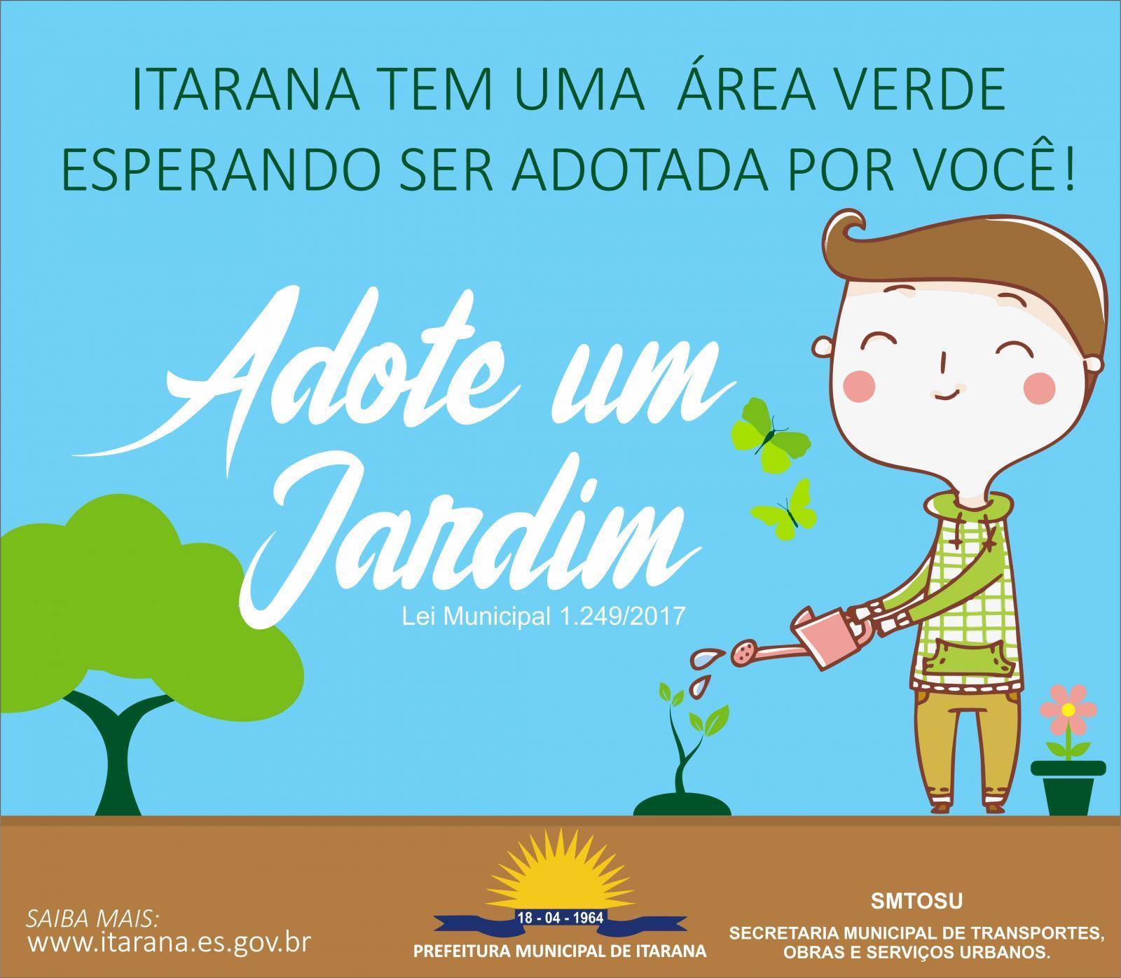 Espaços públicos em Itarana podem ser adotados com o Programa Adote um Jardim