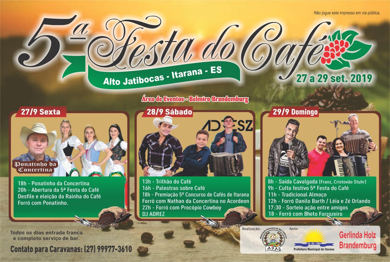 Programação da 5ª Festa do Café de Alto Jatibocas