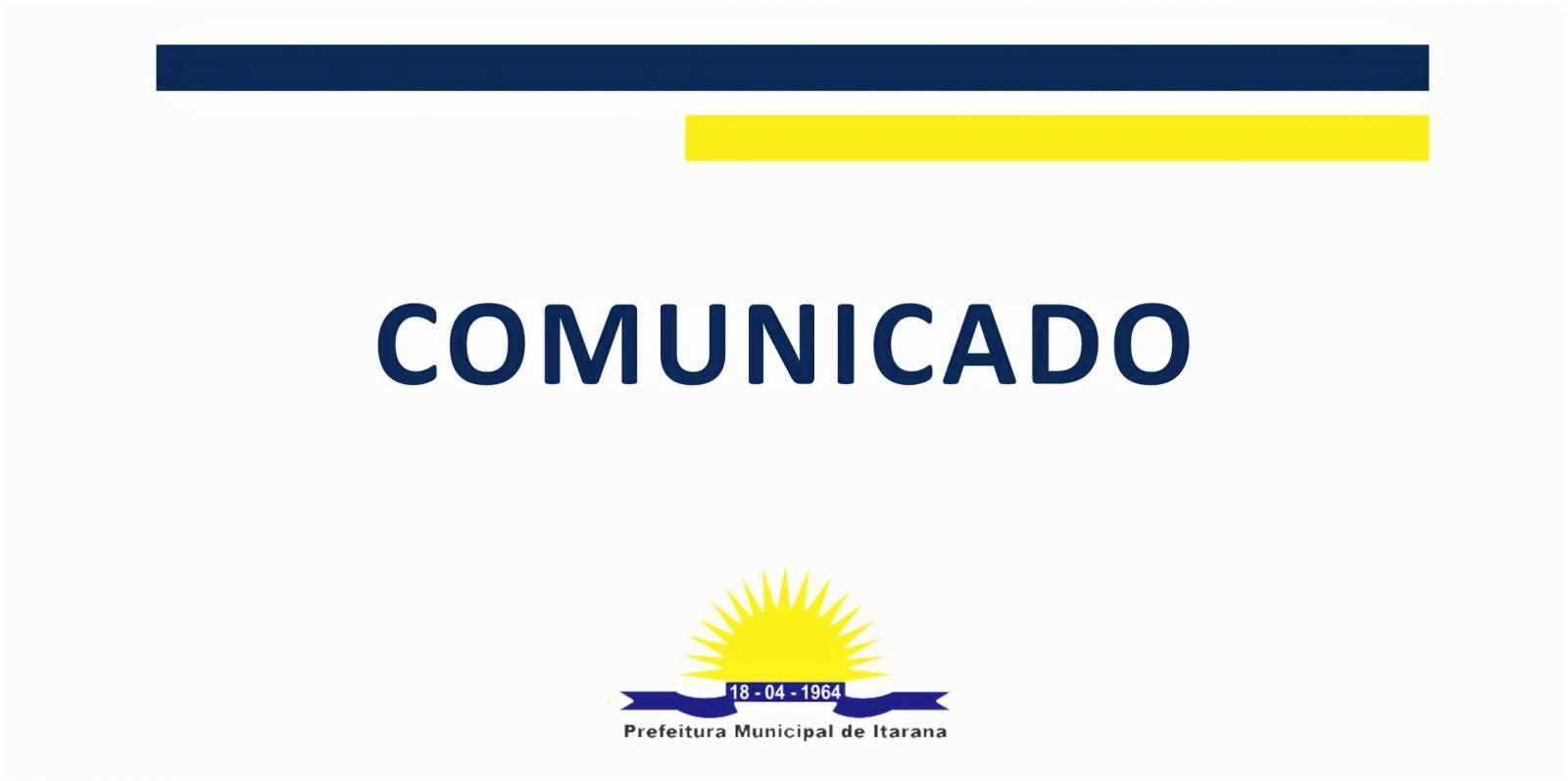 Comunicado - Feira Livre de Itarana será transferida nesta sexta-feira