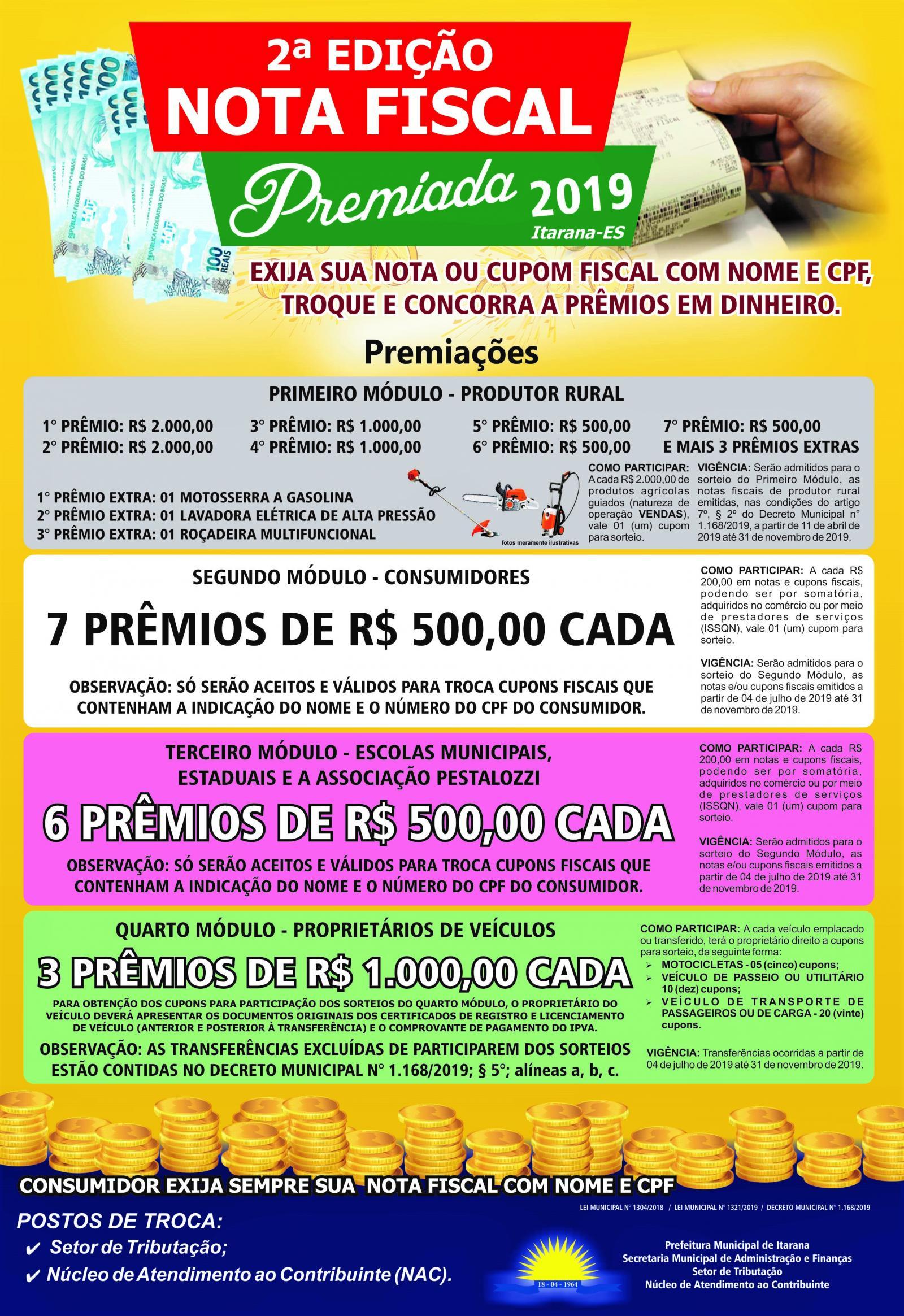Segunda edição da Nota Fiscal Premiada movimenta o comércio nos próximos meses em Itarana