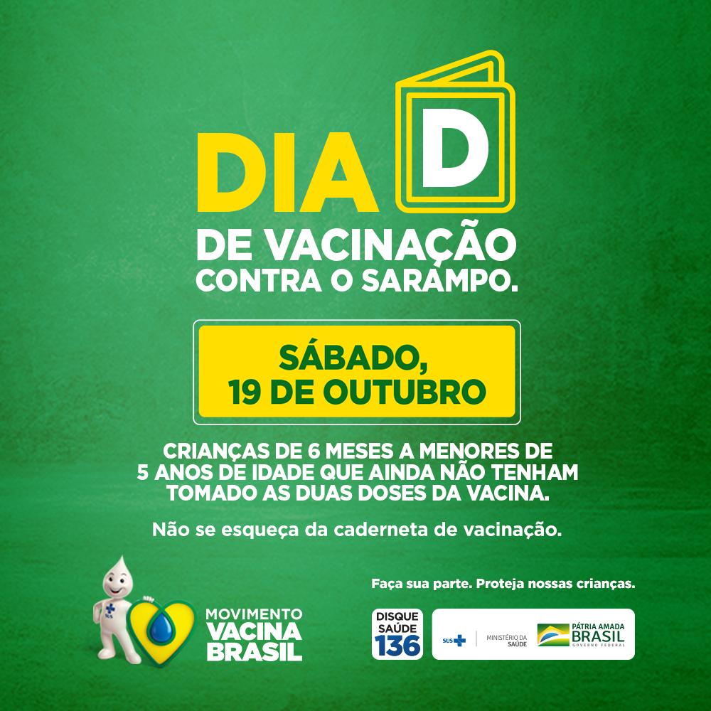 Campanha Nacional de Vacinação contra o Sarampo vai até dia 25 de outubro