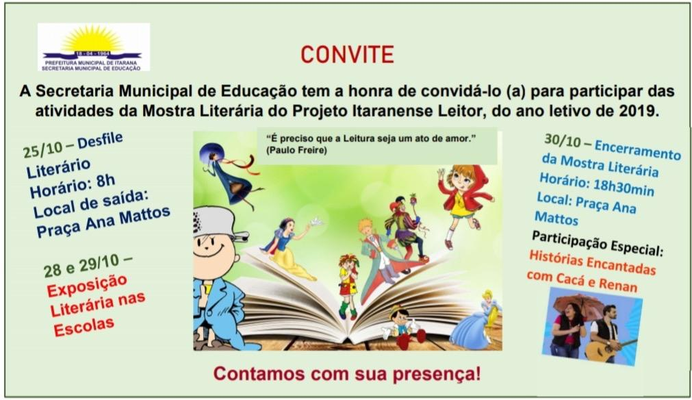 Educação: V Mostra Literária será realizada nos dias 25, 28, 29 e 30 de outubro