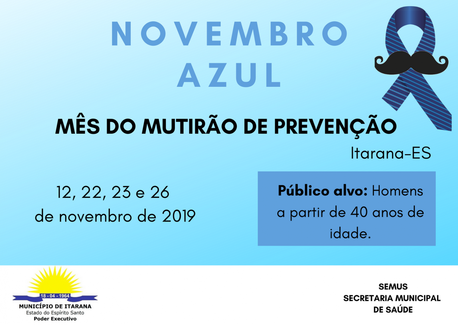 Novembro Azul: programação vai até o dia 26